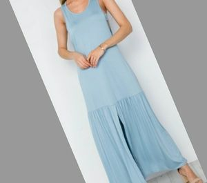 Light Blue Maxi Dress with cut out sides detail